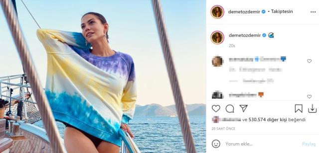 The first comment to Demet Özdemir, who posed on the boat with her mini dress, came from her lover Oğuzhan Koç.